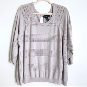 Lane Bryant Crew Neck Perforated Sweater